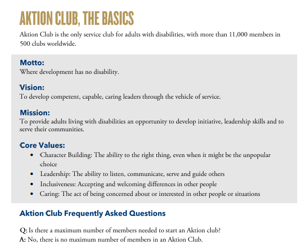 Aktion clubs: the basics