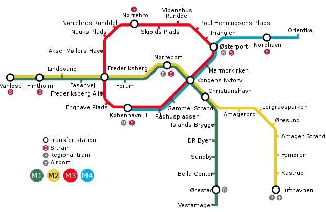 Metro map Copenhagen